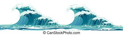 Giant waves on white background