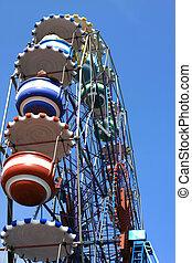 A detail of a amusement park giant wheel