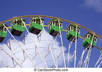 Giant Wheel detail isolated in blue sky background