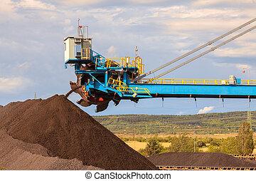 Giant wheel excavator in brown coal mine . Industrial place.