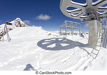 giant wheel from the top of a ski lift, mountain resort