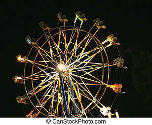 Night scene of Giant wheel is decorated with lights