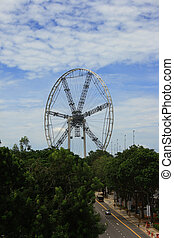 """Giant wheel work in progress, this will going to be the highest """"Marry Go Round"""" in South East Asia."""