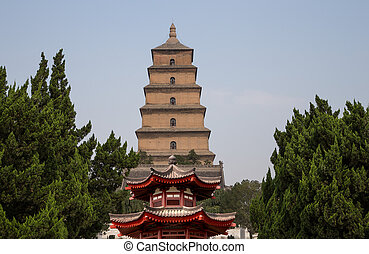 Giant Wild Goose Pagoda or Big Wild Goose Pagoda, is a Buddhist pagoda located in southern Xian (Sian, Xi'an), Shaanxi province, China