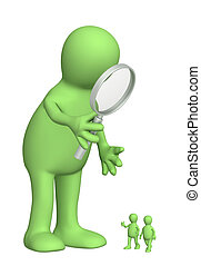 Giant with a magnifier and small people
