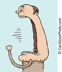 Giant Yawn - A cartoon man yawns with a very large mouth.