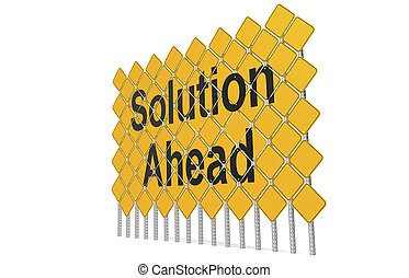 Giant yellow road signs with solution ahead word