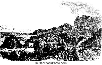Giant's Causeway, in Antrim, Ireland, during the 1890s, vintage engraving. Old engraved illustration of the Giant's Causeway.