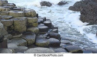giant's, Reise, bestimmungsort, irisch, damm, wasserlandschaft, irland, Wellen, landschaftsbild, Besichtigung