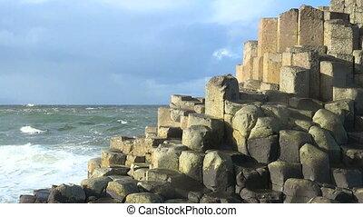 giant's, Reise, irisch, damm, wasserlandschaft, irland, steinen, landschaftsbild, Besichtigung