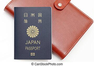 giappone bianco, fondo, isolato, passaporto