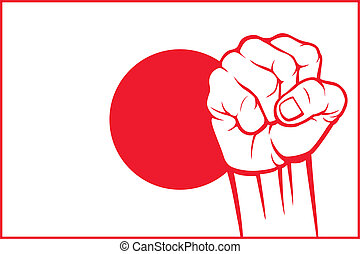 giappone, (flag, japan), pugno