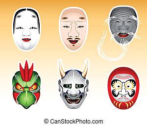 giappone, noh, e, kyogen, maschere, |, set, 2