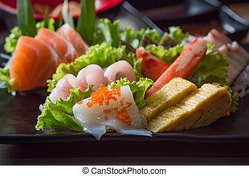 giappone, set, sashimi