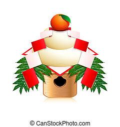 giapponese, anno nuovo, decorazione