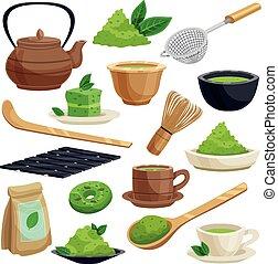 giapponese, cerimonia, set, icone, tè