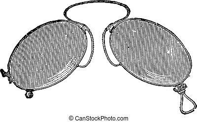 giapponese, -, clip, occhiali, engraving., naso, vendemmia