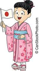 giapponese, illustrazione, bandiera, costume, ragazza, capretto