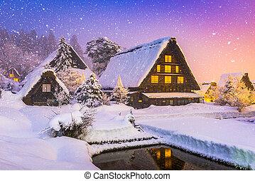 giapponese, inverno, villaggio