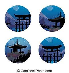 giapponese, paesaggio, icone