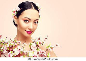 giapponese, ragazza, e, fiori, donna asiatica, bellezza, trucco, bello, modella, con, rosa, sakura, fiore