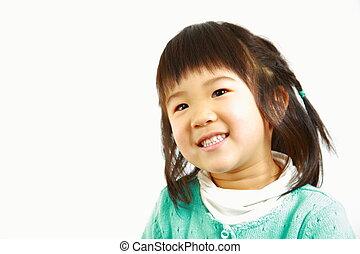 giapponese, ragazza, sorrisi