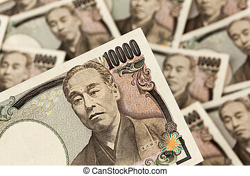 giapponese, soldi, giappone, note., yen