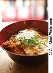 giapponese, -, superato, cotoletta, carne di maiale, ...