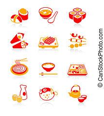 giapponese, sushi-bar, icone, succoso, |