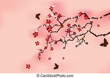 giapponese, tradizionale, fiore ciliegia