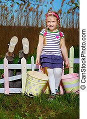 giardinaggio, bambini, felice