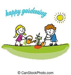 giardinaggio, bambini, stickman, felice
