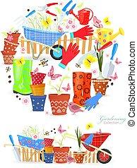 giardinaggio, colorito, collezione, equipments, disegno, bandiere, attrezzi, tuo