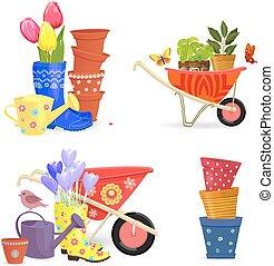 giardinaggio, colorito, primavera, collezione, equipments, mazzolini