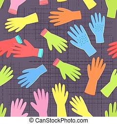 giardinaggio, colorito, seamless, collezione, guanti, struttura