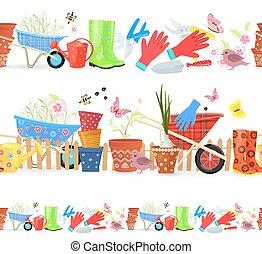 giardinaggio, colorito, seamless, collezione, profili di fodera, attrezzi