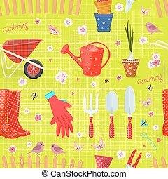 giardinaggio, colorito, seamless, struttura, equipments, attrezzi