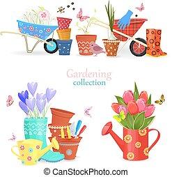 giardinaggio, confortevole, primavera, collezione, equipments, mazzolini
