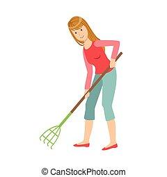 giardinaggio, donna, rastrello, su, tiding, adulto, caratteri, cartone animato, pulizia