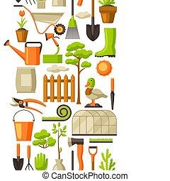 giardinaggio, giardino, modello, items., seamless, illustrazione, stagione, attrezzi