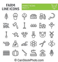 giardinaggio, lineare, pacchetto, fattoria, collezione, linea, isolato, disegni, simboli, set, vettore, fondo., pictograms, segni, logotipo, bianco, agricoltura, illustrazioni, icona