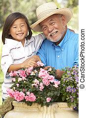 giardinaggio, nipote, insieme, nonno