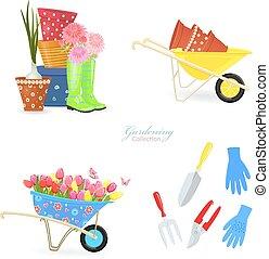 giardinaggio, primavera, collezione, equipments, mazzolini, tuo