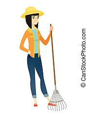 giardinaggio, rake., giovane, asiatico, presa a terra, contadino