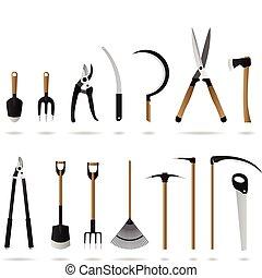 giardinaggio, set, attrezzi
