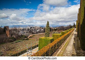 giardini, inverno,  Granada