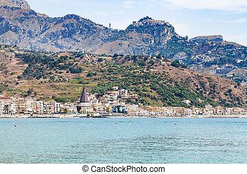 Giardini Naxos town on Ionian sea and Taormina - travel to...