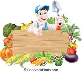 giardiniere, e, verdura, segno