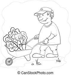 giardiniere, in, giardino, contorno
