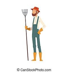 giardiniere, uomo, vettore, carattere, illustrazione, contadino, fattoria, allegro, maschio, lavorativo, standing, o, rastrello, veralls